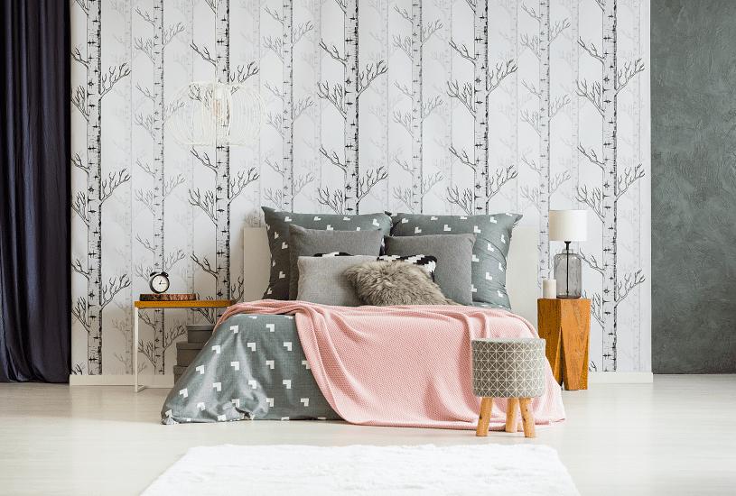 Decoração de quarto com papel de parede inspire-se